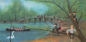 Pat Buckley Moss original watercolor painting of the Old North Bridge in Concord Massachusetts