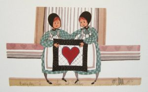 Pat Buckley Moss Love and Stitches two Amish girls holding up a quilt with a red heart.