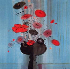 Pat Buckley Moss Red Flowers