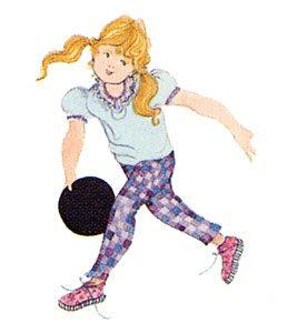Pat Buckley Moss - Strikes girl throwing a bowling ball