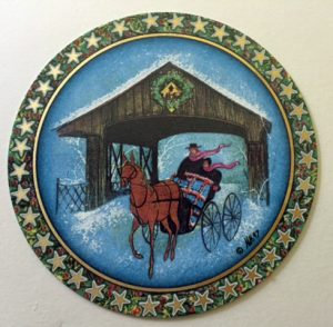 Pat Buckley Moss - Bridge at Long Grove - Christmas Ornament