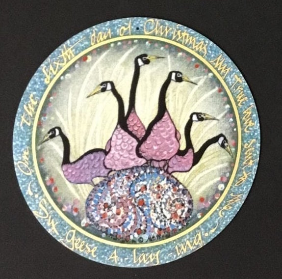 Pat Buckley Moss Six Geese Laying Ornament