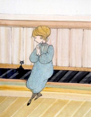 Pat Buckley Moss Watercolor - Girl With Cat