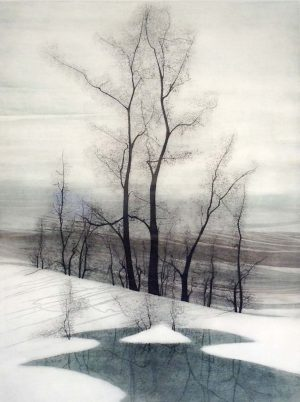 Pat Buckley Moss Etching - Trees In Winter