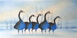 Pat Buckley Moss Etching - Geese In Blue