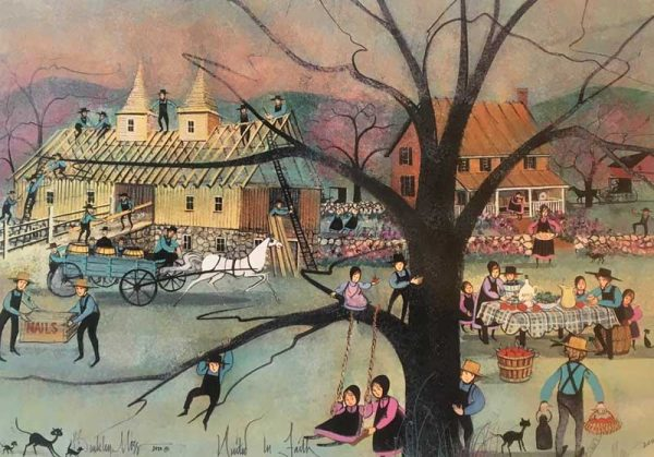 Pat Buckley Moss Print United in Faith Amish Barn Raising